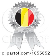 Royalty Free Vector Clip Art Illustration Of A Silver Ribbon Belgium Flag Medal by Andrei Marincas