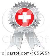 Royalty Free Vector Clip Art Illustration Of A Silver Ribbon Switzerland Flag Medal