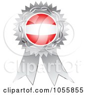 Royalty Free Vector Clip Art Illustration Of A Silver Ribbon Austria Flag Medal by Andrei Marincas