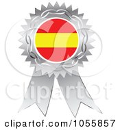 Royalty Free Vector Clip Art Illustration Of A Silver Ribbon Spanish Flag Medal by Andrei Marincas