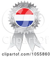 Royalty Free Vector Clip Art Illustration Of A Silver Ribbon Netherlands Flag Medal by Andrei Marincas