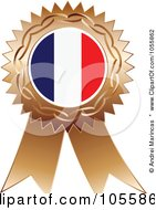 Royalty Free Vector Clip Art Illustration Of A Bronze Ribbon France Flag Medal by Andrei Marincas