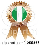 Royalty Free Vector Clip Art Illustration Of A Bronze Ribbon Nigeria Flag Medal by Andrei Marincas