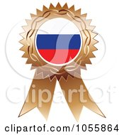 Royalty Free Vector Clip Art Illustration Of A Bronze Ribbon Russia Flag Medal by Andrei Marincas