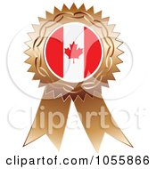 Royalty Free Vector Clip Art Illustration Of A Bronze Ribbon Canadian Flag Medal