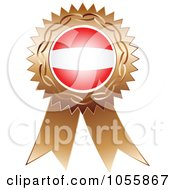Royalty Free Vector Clip Art Illustration Of A Bronze Ribbon Austria Flag Medal by Andrei Marincas