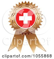 Royalty Free Vector Clip Art Illustration Of A Bronze Ribbon Switzerland Flag Medal