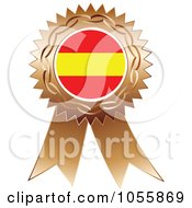 Royalty Free Vector Clip Art Illustration Of A Bronze Ribbon Spanish Flag Medal