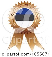 Royalty Free Vector Clip Art Illustration Of A Bronze Ribbon Estonia Flag Medal