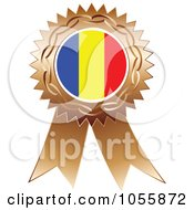 Royalty Free Vector Clip Art Illustration Of A Bronze Ribbon Romania Flag Medal