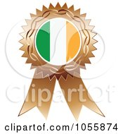 Royalty Free Vector Clip Art Illustration Of A Bronze Ribbon Irish Flag Medal