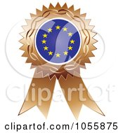 Royalty Free Vector Clip Art Illustration Of A Bronze Ribbon European Flag Medal by Andrei Marincas