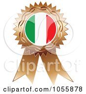 Royalty Free Vector Clip Art Illustration Of A Bronze Ribbon Italy Flag Medal