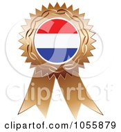 Royalty Free Vector Clip Art Illustration Of A Bronze Ribbon Netherlands Flag Medal by Andrei Marincas