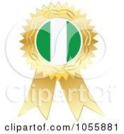 Royalty Free Vector Clip Art Illustration Of A Gold Ribbon Nigeria Flag Medal
