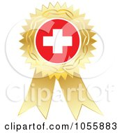 Royalty Free Vector Clip Art Illustration Of A Gold Ribbon Switzerland Flag Medal