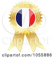 Royalty Free Vector Clip Art Illustration Of A Gold Ribbon France Flag Medal by Andrei Marincas