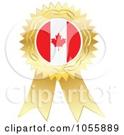 Royalty Free Vector Clip Art Illustration Of A Gold Ribbon Canadian Flag Medal