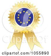 Royalty Free Vector Clip Art Illustration Of A Gold Ribbon European Flag Medal by Andrei Marincas