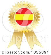 Royalty Free Vector Clip Art Illustration Of A Gold Ribbon Spanish Flag Medal