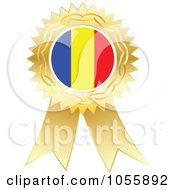Royalty Free Vector Clip Art Illustration Of A Gold Ribbon Romania Flag Medal