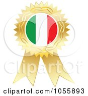 Royalty Free Vector Clip Art Illustration Of A Gold Ribbon Italy Flag Medal