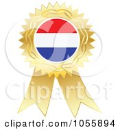 Royalty Free Vector Clip Art Illustration Of A Gold Ribbon Netherlands Flag Medal by Andrei Marincas