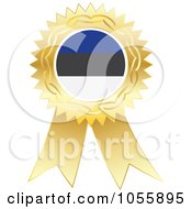 Royalty Free Vector Clip Art Illustration Of A Gold Ribbon Estonia Flag Medal