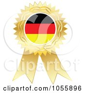 Royalty Free Vector Clip Art Illustration Of A Gold Ribbon German Flag Medal by Andrei Marincas
