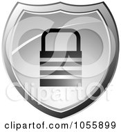 Royalty Free Vector Clip Art Illustration Of A Silver Secure Padlock Shield by michaeltravers