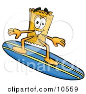 Clipart Picture Of A Yellow Admission Ticket Mascot Cartoon Character Surfing On A Blue And Yellow Surfboard