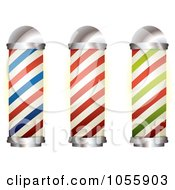 Royalty Free Vector Clip Art Illustration Of A Digital Collage Of Barber Shop Poles by michaeltravers