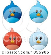 Royalty Free Vector Clip Art Illustration Of A Digital Collage Of Blue And Red Bird Faces