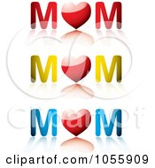 Royalty Free Vector Clip Art Illustration Of A Digital Collage Of MOM Words With Hearts And Reflections by michaeltravers