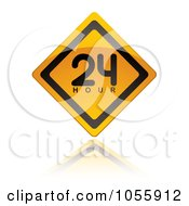 Royalty Free Vector Clip Art Illustration Of A Yellow Open 24 Hours Sign And Reflection by michaeltravers