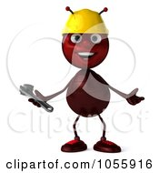 Royalty Free CGI Clip Art Illustration Of A 3d Worker Ant Holding A Wrench And Shrugging by Julos