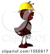 Royalty Free CGI Clip Art Illustration Of A 3d Worker Ant Holding A Wrench And Looking Right by Julos