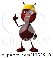 Royalty Free CGI Clip Art Illustration Of A 3d Worker Ant With An Idea by Julos
