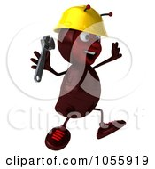 Royalty Free CGI Clip Art Illustration Of A 3d Worker Ant Holding A Wrench And Jumping by Julos