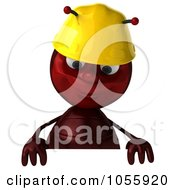 Royalty Free CGI Clip Art Illustration Of A 3d Worker Ant Looking Down At A Blank Sign by Julos