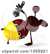 Royalty Free CGI Clip Art Illustration Of A 3d Worker Ant Holding A Wrench And Doing A Hand Stand by Julos