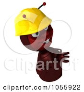 Royalty Free CGI Clip Art Illustration Of A 3d Worker Ant Pointing At And Looking Around A Blank Sign by Julos
