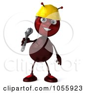 Royalty Free CGI Clip Art Illustration Of A 3d Worker Ant Holding A Wrench And Smiling by Julos