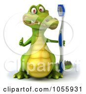 Royalty Free CGI Clip Art Illustration Of A 3d Crocodile Holding A Toothbrush 2