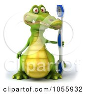 Royalty Free CGI Clip Art Illustration Of A 3d Crocodile Holding A Toothbrush 1