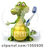 Royalty Free CGI Clip Art Illustration Of A 3d Crocodile Holding A Toothbrush 3
