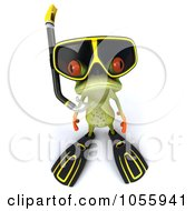 Royalty Free CGI Clip Art Illustration Of A 3d Springer Frog In Snorkel Gear 2