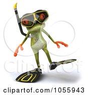 Royalty Free CGI Clip Art Illustration Of A 3d Springer Frog In Snorkel Gear 3