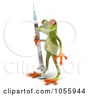 Royalty Free CGI Clip Art Illustration Of A 3d Green Tree Frog Standing With A Flu Vaccine Syringe