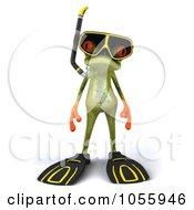 Royalty Free CGI Clip Art Illustration Of A 3d Springer Frog In Snorkel Gear 1